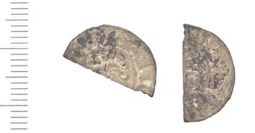 WAW-074D96: Medieval coin: cut halfpenny. (Obverse and reverse)