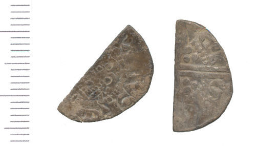 WAW-077371: Medieval coin: cut halfpenny of Henry III. (Obverse and reverse)