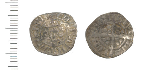 WAW-197B36: Medieval Coin Penny of Edward I (obverse and reverse)