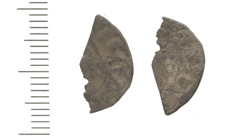 WAW-1A0E44: Medieval Coin cut halfpenny of the late 12th to mid 13th century. (obverse and reverse)
