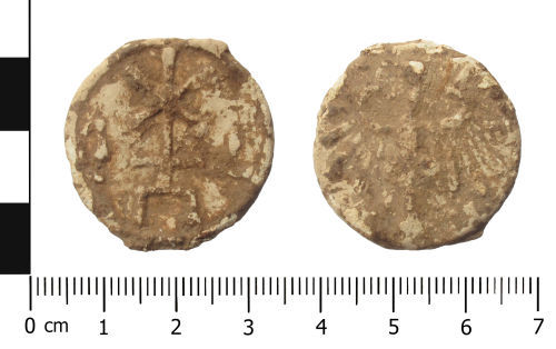 WAW-255DF2: Post Medieval lead token.