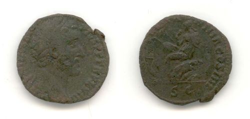 WAW-295EA3: Obverse and reverse of an Antoninus Pius coin.