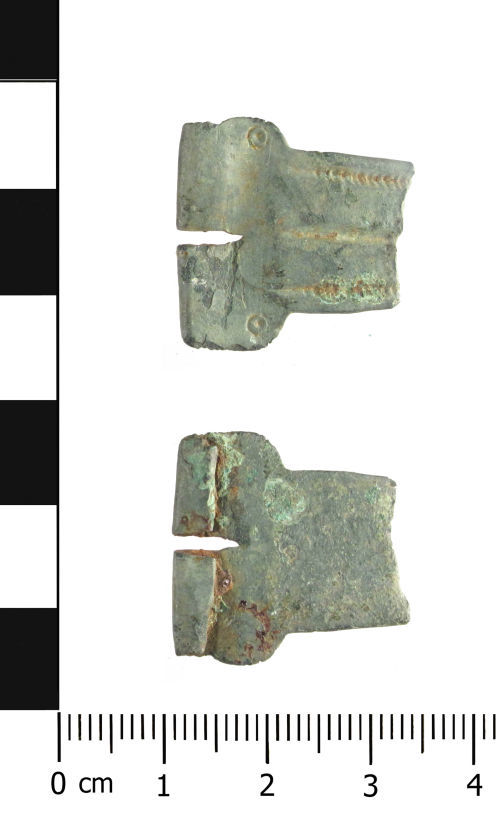 WAW-2CC761: Roman or Medieval buckle plate (plan and reverse).