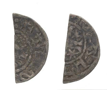 WAW-325BF5: Obverse and reverse of a cut halfpenny of William I.