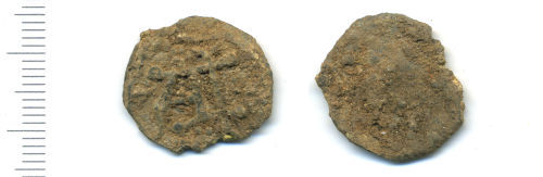 A resized image of Medieval or Post Medieval lead token (Obverse and reverse).