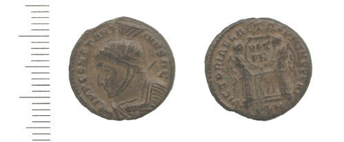 WAW-41F0C6: Roman coin: nummus of Constantine I (Obverse and reverse).