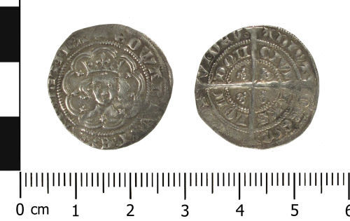 WAW-4F4B72: Medieval coin: halfgroat of Edward III (Obverse and reverse).