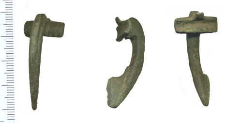 WAW-5D3FF4: Roman Colchester Two Piece Dolphin Brooch (front, profile and reverse)
