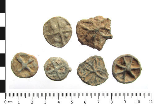 A resized image of Post Medieval lead tokens x6 (plan).
