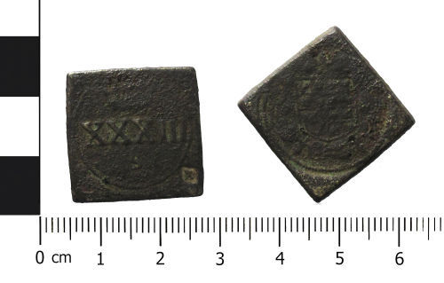 WAW-79FBB8: Post Medieval coin weight of James I (Obverse and reverse).