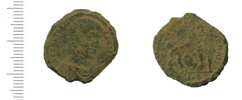 WAW-7B70E8: Roman coin: nummus of Constantius Gallus (obverse and reverse).