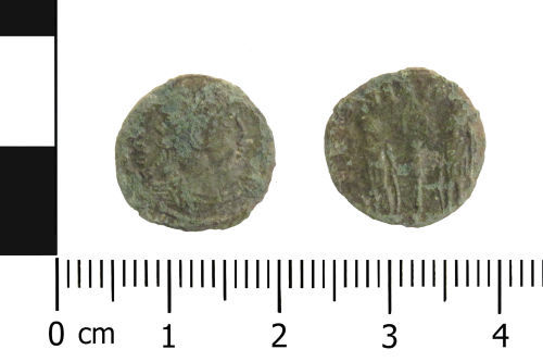 WAW-8E6CC6: Roman coin: nummus of the House of Constantine (Obverse and reverse).