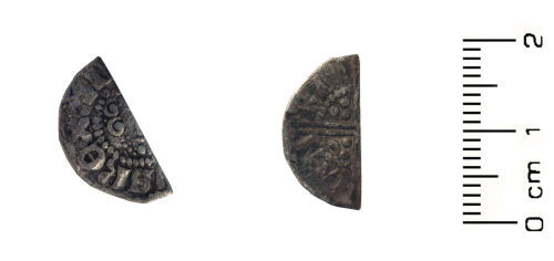 WAW-90BBB4: Medieval coin: cut halfpenny of Henry III (Obverse and reverse).
