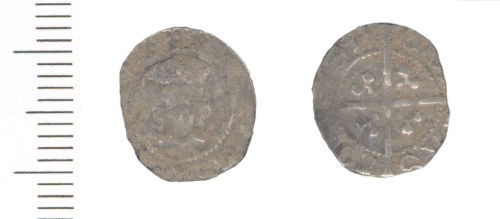 WAW-958AD7: Medieval coin: halfpenny of Edward IV second reign (Obverse and reverse).