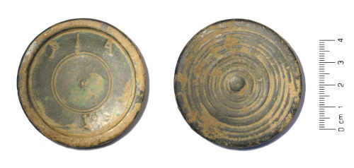 WAW-9C40B7: Post Medieval trade weight (plan and reverse).