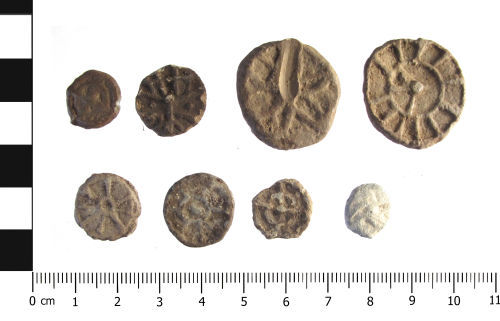 WAW-A28568: Post Medieval lead tokens (x8 in plan).
