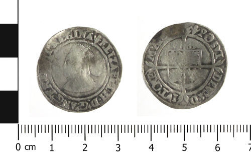 WAW-A40154: Post Medieval coin: sixpence of Elizabeth I (Obverse and reverse).