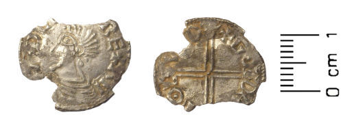 WAW-AFC2D7: Early Medieval coin: penny of Aethelred II (Obverse and reverse).