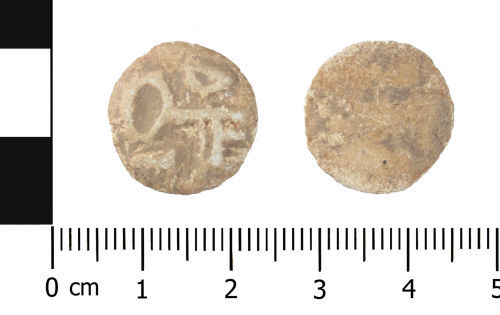 WAW-B82498: Post Medieval lead token (plan and reverse).