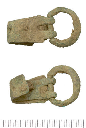 WAW-BD3623: Two views of a Medieval buckle and plate.