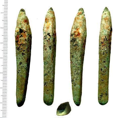 WAW-C4A5F5: Bronze Age Chisel (profile, upper view, profile, underside and blade tip) possibly