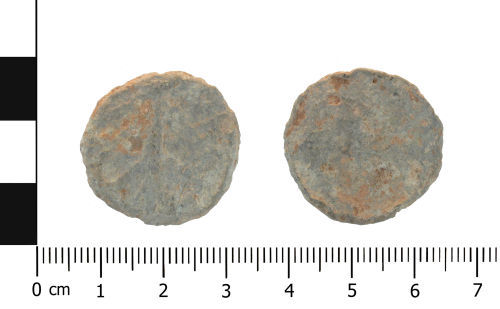 A resized image of Post Medieval lead token (plan and reverse).