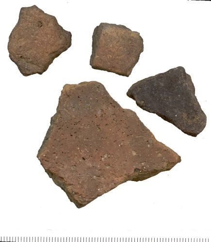 WAW-E5EAD2: WAW-E5ABF5 Four sherds of a Roman, or more likely Medieval vessel.