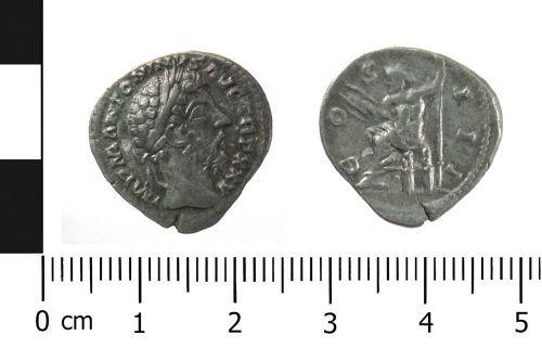 A resized image of Roman coin: denarius of Marcus Aurelius (Obverse and reverse).