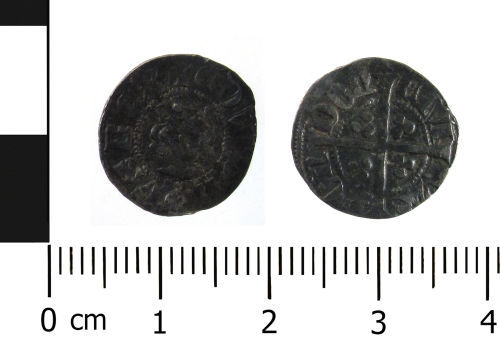 WAW-ECE4E0: Medieval coin: halfpenny of Edward II (Obverse and reverse).