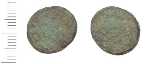 WAW-EEAFA7: Roman coin: a nummus of the House of Constantine (Obverse and reverse).