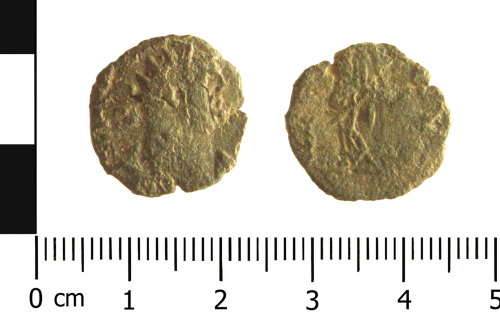 WAW-0832A9: Roman coin: radiate of possibly Gallienus (Obverse and reverse).