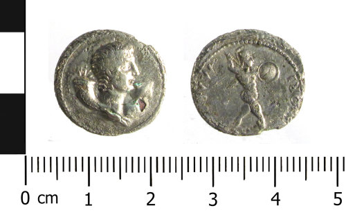 WAW-12E779: Roman coin; a plated denarius of the Civil Wars period (Obverse and reverse).