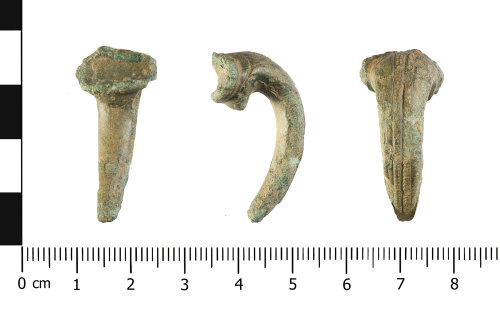 WAW-1788F3: Roman brooch: possible trumpet type (reverse, profile and plan).