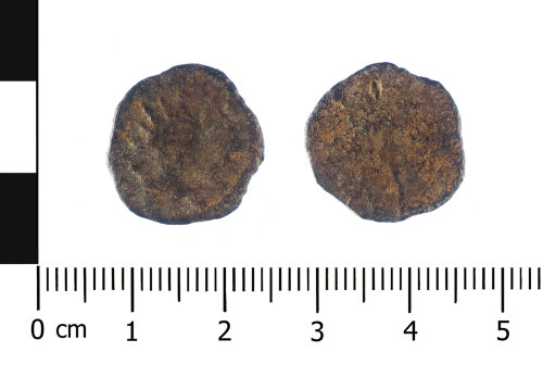 WAW-18D6A4: Roman coin: A copper-alloy radiate of, Tetricus I (Obverse and reverse).