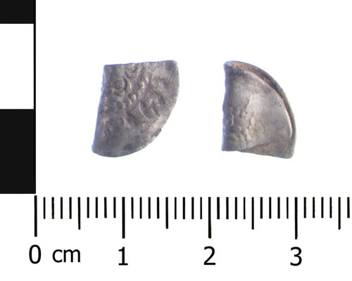 WAW-29660D: Medieval coin: cut halfpenny of Henry II to Henry III (Obverse and reverse).