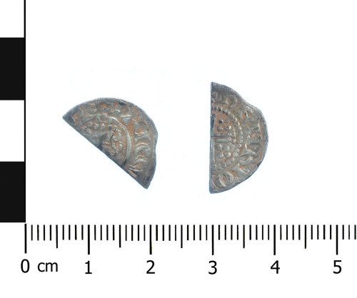 WAW-2AC7A3: Medieval coin: cut halfpenny of Henry III (Obverse and reverse).