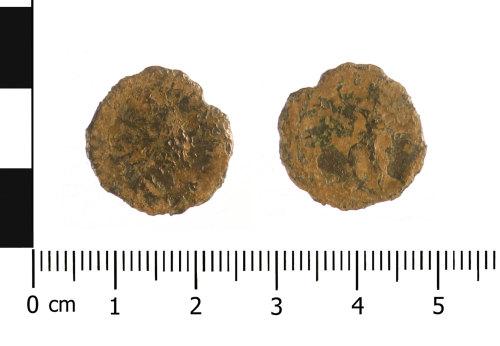 WAW-2DA1B4: Roman coin: copper alloy radiate Victorinus (Obverse and reverse).