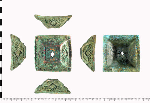 WAW-3168EE: Early Medieval Irish Mount (x4 profiles, plan and reverse).