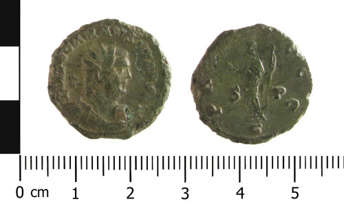 WAW-355A24: Roman coin: radiate of Carausius  (Obverse and reverse).