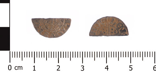 WAW-45AF49: Medieval coin: cut halfpenny of Henry III (Obverse and reverse).
