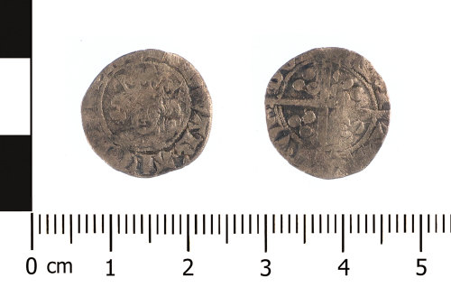 WAW-45EDF9: Medieval coin: penny of Edward I or II (Obverse and reverse).