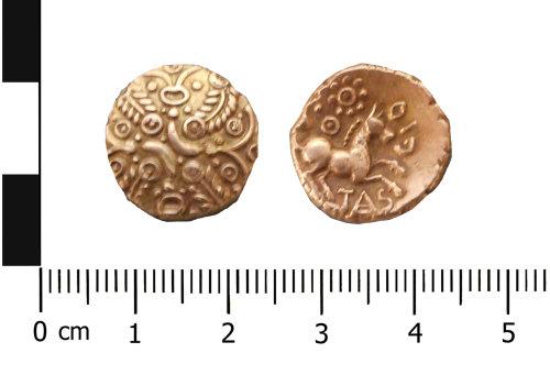 WAW-4AC3FE: Iron Age coin: stater of Catuvellauni, Tasciovanos Tascio type (Obverse and reverse).