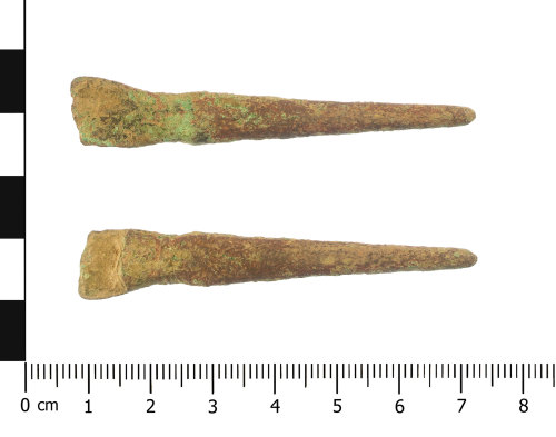 WAW-4C42B5: Early Medieval strap end (plan and reverse).