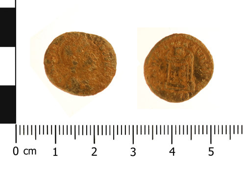 WAW-560C27: Roman coin: nummus of Constantine I (Obverse and reverse).