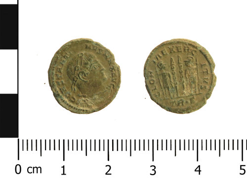 WAW-5E05FD: Roman coin: nummus of Constantine I (Obverse and reverse).