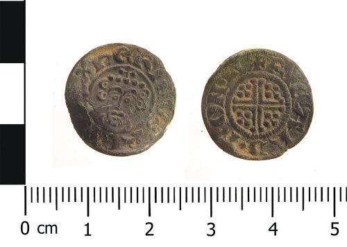 WAW-5E3240: Medieval coin: penny of John (Obverse and reverse).