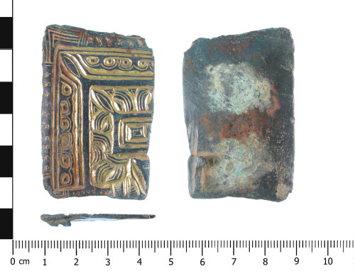 WAW-602D36: Early Medieval brooch reused as a mount (plan, profile and reverse).