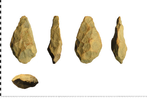 A resized image of Palaeolithic hand axe (plan, profile, plan, profile and section).