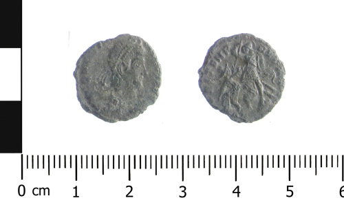 WAW-79101E: Roman coin: nummus of the House of Constantine (Obverse and reverse).
