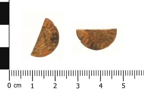 WAW-9B073C: Medieval coin: cut halfpenny of Henry III (Obverse and reverse).